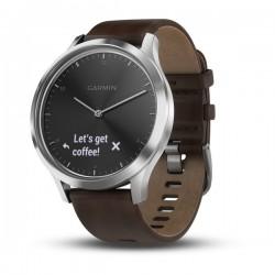Спортивные часы VIVOMOVE HR серебряные с темно-коричневым кожаным ремешком